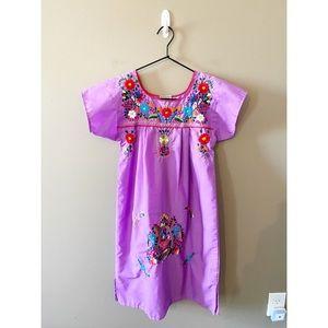 Hand Embroidered Purple Oaxaca Girls Dress